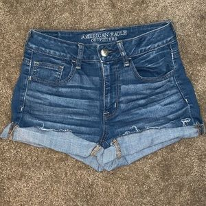 High rise blue shorts